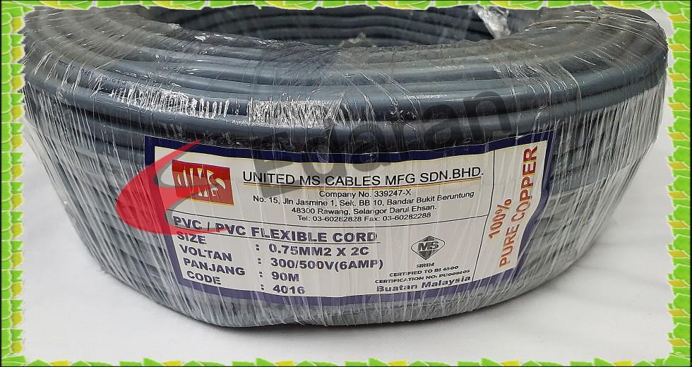 UMS 2 Core 0.75MM² (40/16) 6AMP PVC/PVC FLEXIBLE CORD - 100% PURE COPPER (90 METER / COILS)